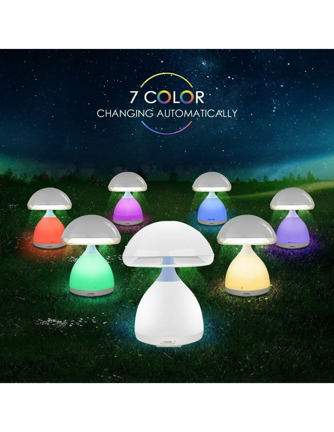Lampada Moderna Da Tavolo Comodino A Led A Forma Fungo Cromoterapia A 7 Colori
